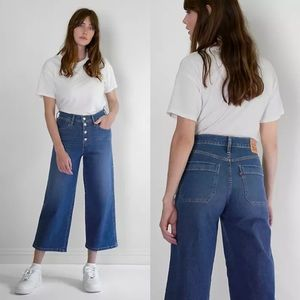 Levi's Mile High Cropped Wide Leg High Rise Jeans